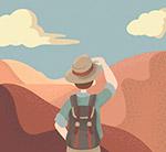 沙漠眺望的男子背影