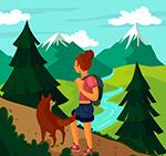 登山女子和宠物狗