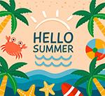 彩色夏季度假沙滩