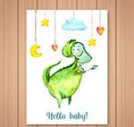彩绘恐龙迎婴卡片