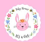 可爱兔子迎婴卡片