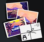 海边度假明信片