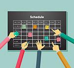 工作计划表和手臂