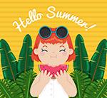 夏季吃西瓜的女孩