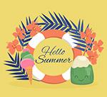 你好夏季度假元素