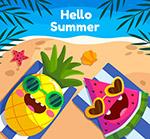 度假的菠萝和西瓜