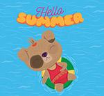 卡通夏季海上度假狗
