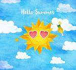 水彩绘夏季太阳