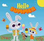 夏季吃雪糕的兔子