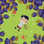 躺在草地上的男孩