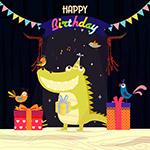 卡通生日鳄鱼
