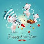 卡通老鼠新年�R卡
