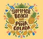季沙滩菠萝艺术字