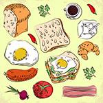 彩绘早餐食物
