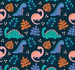 恐龙和树叶无缝背景