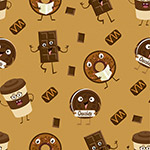 咖啡甜点无缝背景