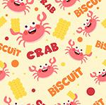 螃蟹和饼干无缝背景