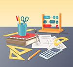 桌子上的数学用文具