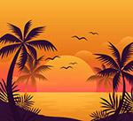 夕阳沙滩大海风景