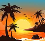 夕阳大海岛屿风景