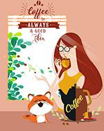 ��意喝咖啡女子