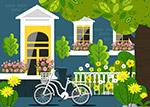 房屋花园单车风景