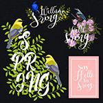 花鸟装饰春季艺术字