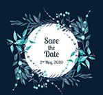 彩绘果枝婚礼海报