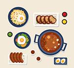 美味饭菜俯视图