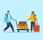 拖行李箱的男女
