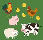 可爱笑脸农场动物