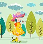 花裙子女孩和鸟
