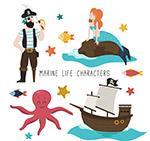 卡通海盗和美人鱼