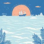 海上夕阳船舶风景