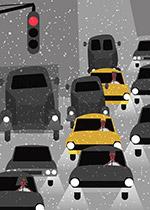 雪中堵车的道路