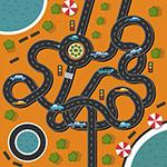 环形弯曲公路俯视图