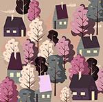 春季房屋树木风景