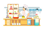 忙碌的餐馆厨师