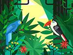 树林花卉和鹦鹉