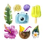 彩绘夏季旅行元素