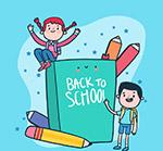返校学生和课本