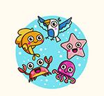 鸟和4款海洋动物