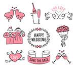手绘粉色婚礼元素