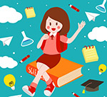 女学生和文具