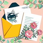 玫瑰花和明信片