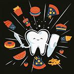 可爱牙齿和食物