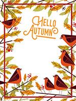 秋季树枝和鸟框架