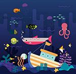 做旧效果海底世界