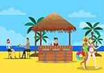 沙滩上的酒吧风景