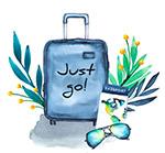 行李箱和树叶